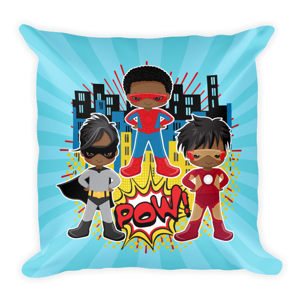 African American Superhero Square Pillow