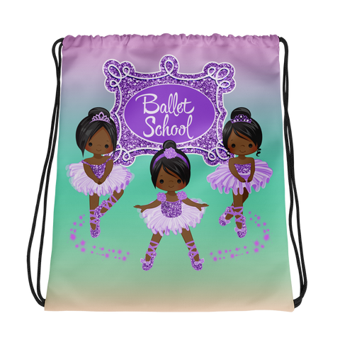 Purple Ballerina Drawstring bag