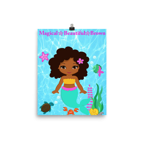 African American Magical Mermaid Poster