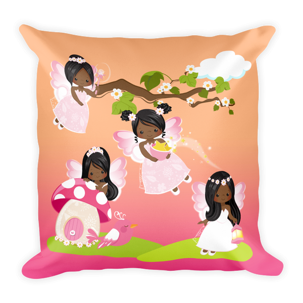 African American Fairy Square Pillow