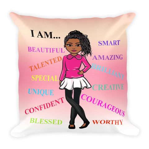 Positive Girl Square Pillow