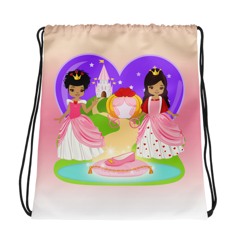 African American Princess Drawstring bag