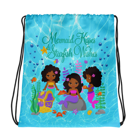 African American Mermaid Drawstring bag