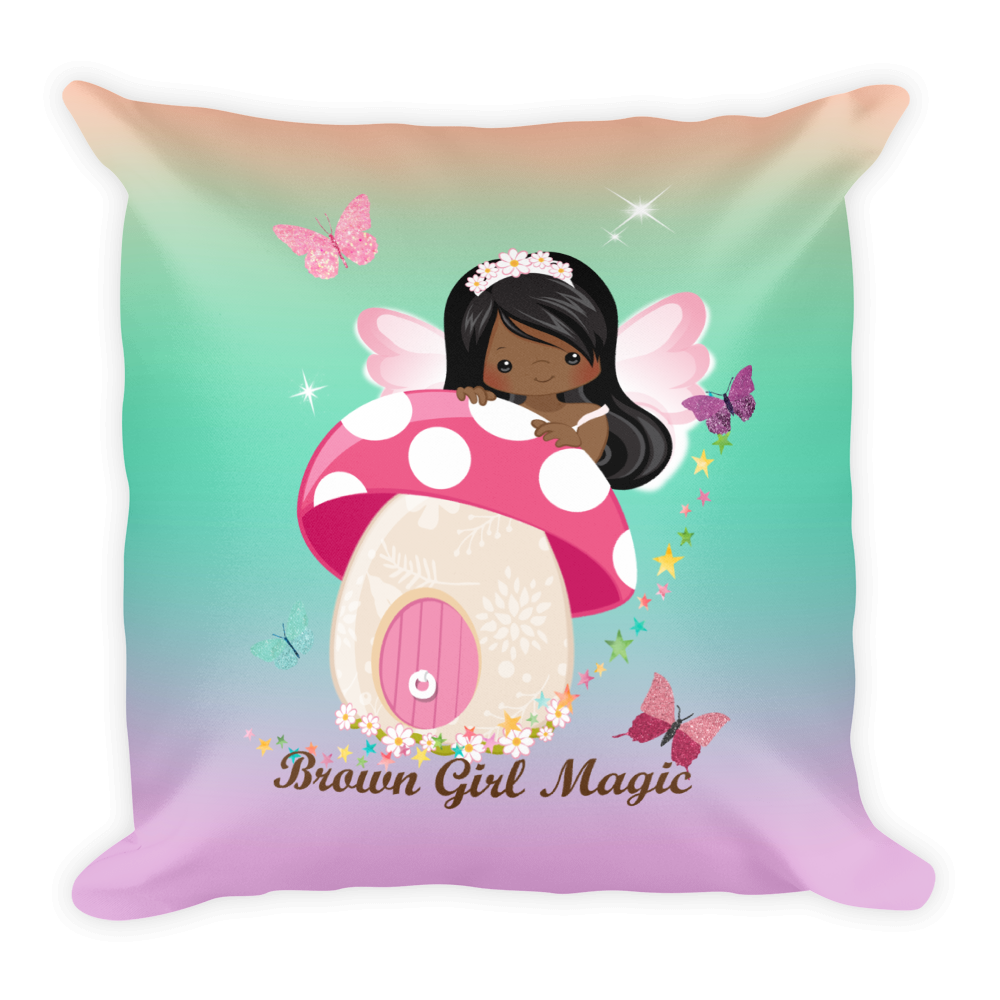 African American Fairy2 Square Pillow