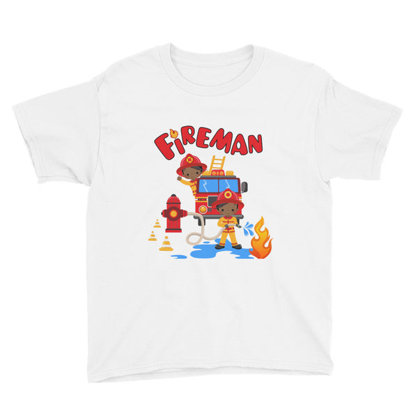 African American Fireman Youth T-Shirt