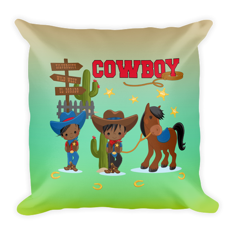 African American Cowboy Square Pillow