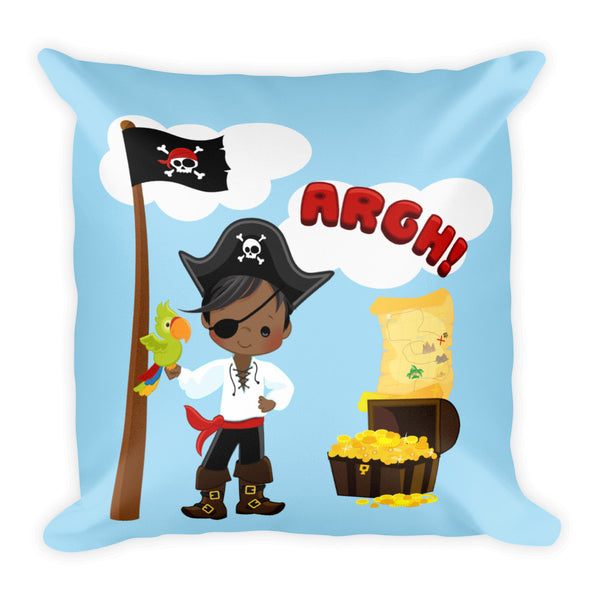African American Pirate Square Pillow