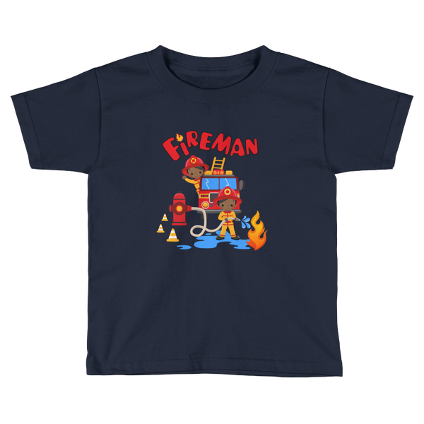 African American Fireman Toddler Short Sleeve T-Shirt