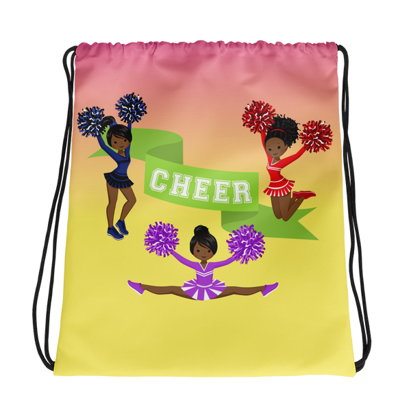 African American Cheerleader Drawstring bag