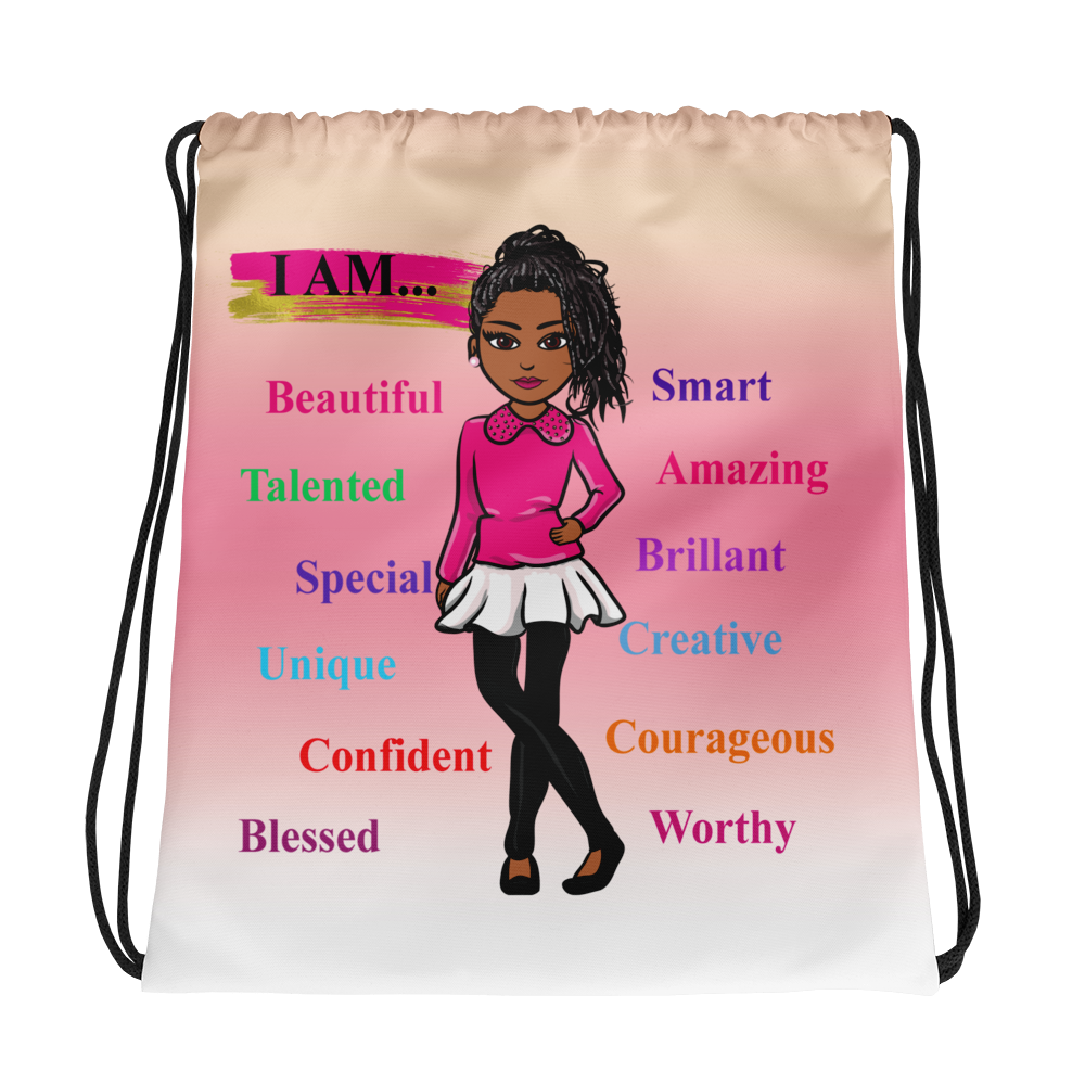 Positive Girl-Pink Drawstring bag