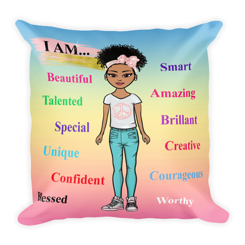 Positive Girl-Blue Square Pillow