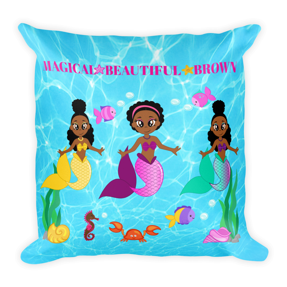African American Mermaid Square Pillow