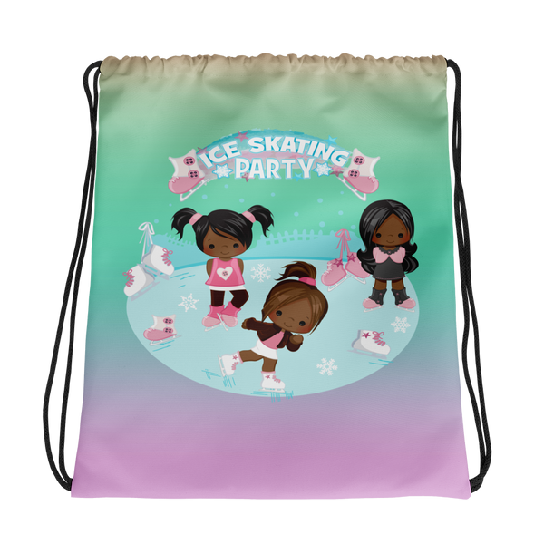 Brown Girls Ice Skating Drawstring bag