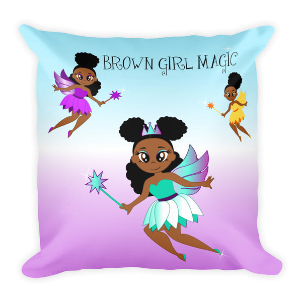 Afro Fairy Square Pillow