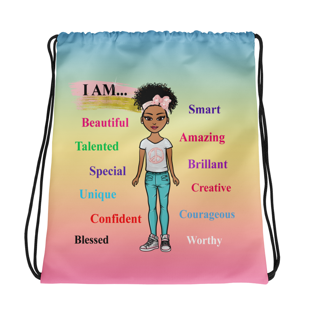 Positive Girl-Blue Drawstring bag