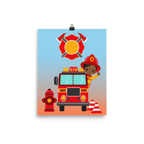 African American Fireman Poster