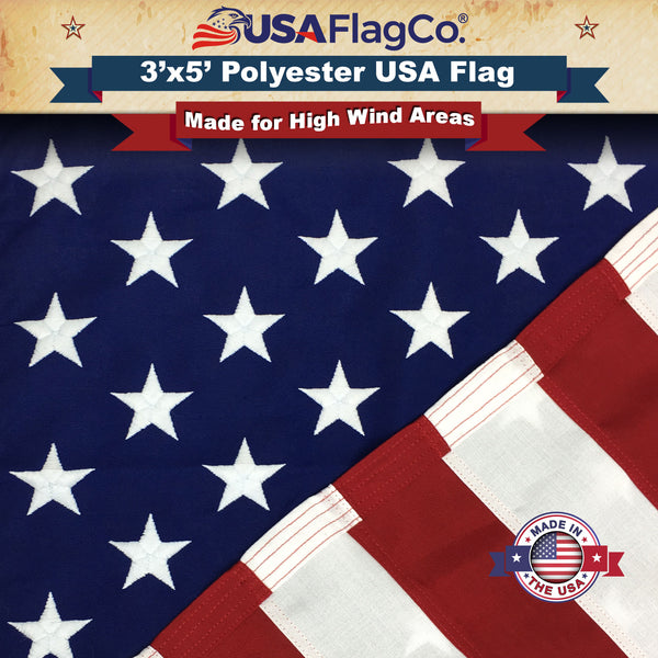 Polyester US Flag (3x5 Foot) Embroidered Stars & Sewn