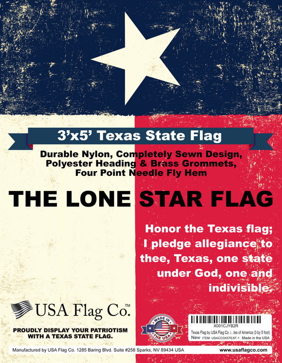 This Beautiful Texas Flag is an Original American Made Flag from USA Flag Co.