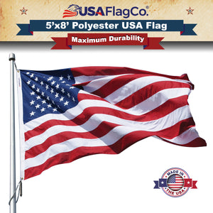 USA Flag Co. 5x8 Polyester USA Flags - Embroidered Stars and Sewn Stripes withstands Wind, Sun, Dirt, and Moisture Areas. Made in the USA!