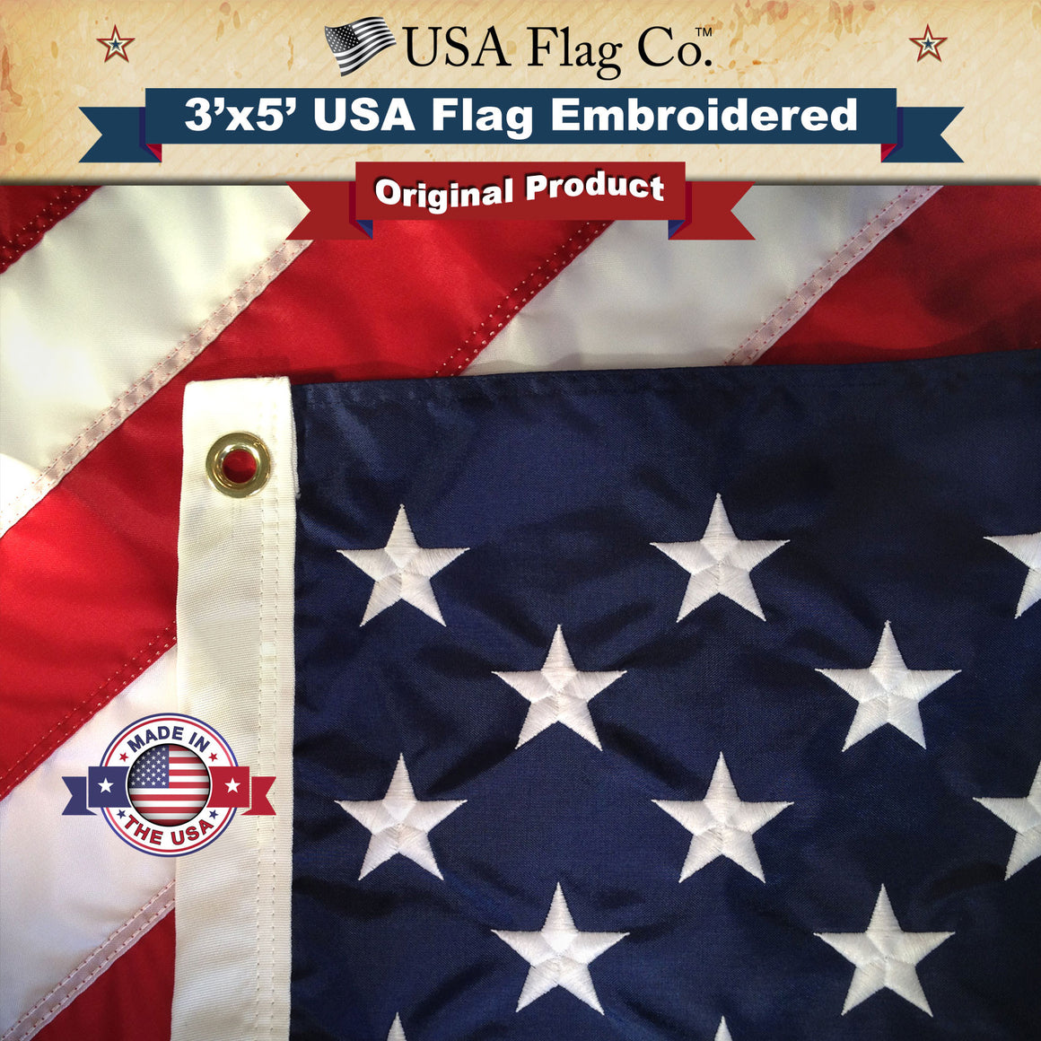 American Flag (3x5 foot) Embroidered Stars & Sewn Stripes