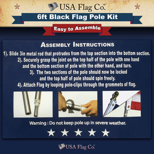 Black Flag Pole Kit Easy Install by USA flag Co.