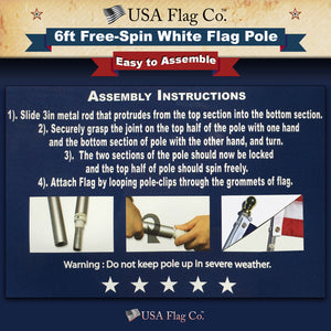 Easy to Assemble White Flag Pole by USA Flag Co.