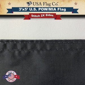 POW MIA Flag 2X Side Stitching