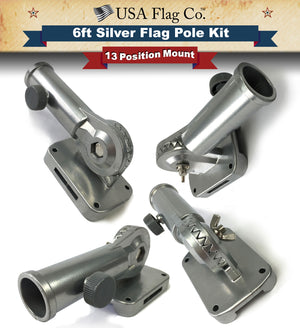 Silver Flag Pole Holder Mount Bracket Kit by USA Flag Co.