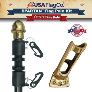SPARTAN™ NeverFurl® Flagpole & Bracket Kit by USA Flag Co.