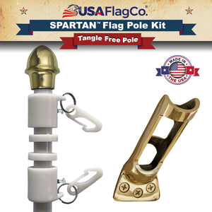 SPARTAN™ NeverFurl® White Flagpole & Bracket Kit by USA Flag Co.