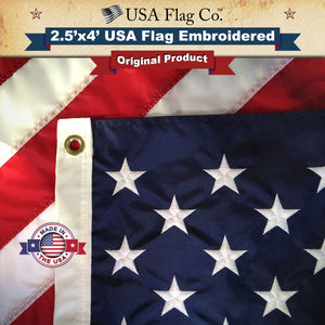 American Flag (2.5x4 foot) Embroidered Stars & Sewn Stripes