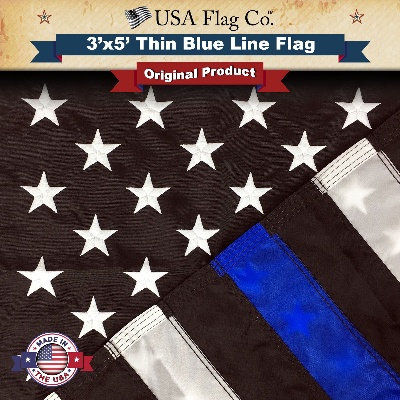 5ff321afcb9 Thin Blue Line American Flag 3x5 Ft. Embroidered Stars   Sewn ...