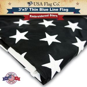 "Thin Blue Line ""Black and White"" American Flag by USA Flag Co."