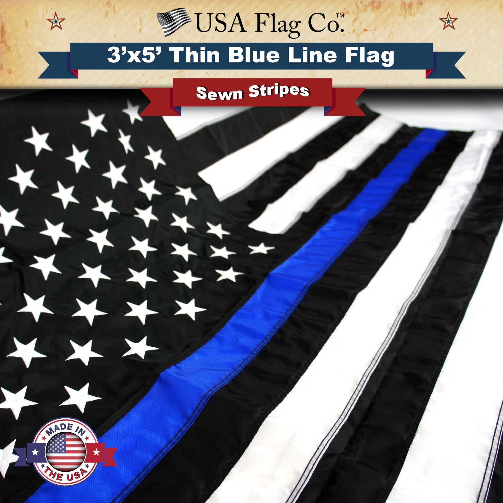 American Police Flag Honoring Law Enforcement Officers 3X5 Foot Sturdy Nylon New