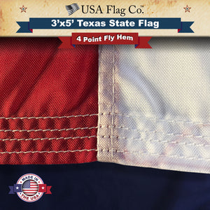 Four Point Needle Fly Hem Texas Flag