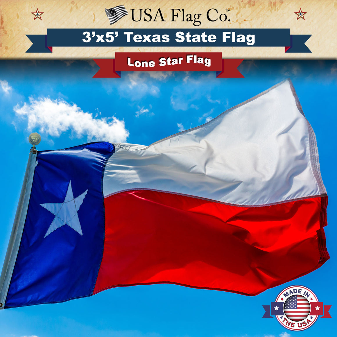 Texas Flag (3x5 foot) Beautiful Fully Sewn Design and 100% Made in the USA by USA Flag Co.