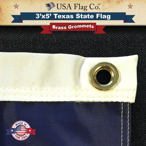Strong Polyester Canvas Headings and Spurred Brass Grommets Texas Flag