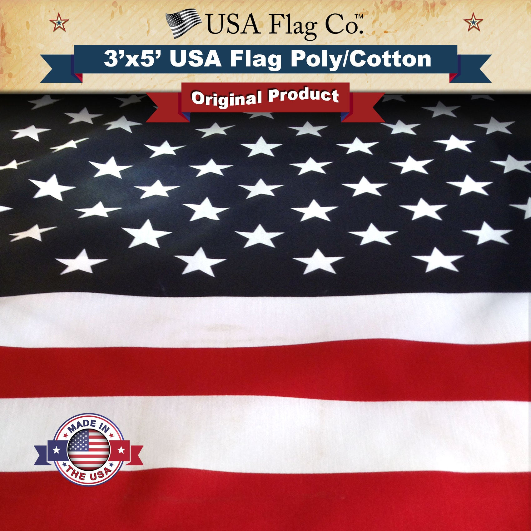us flag 3x5 foot poly cotton screen dyed usa flag co