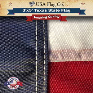 100% nylon material Texas Flag provides a rich, lustrous appearance and has superb wearing strength.