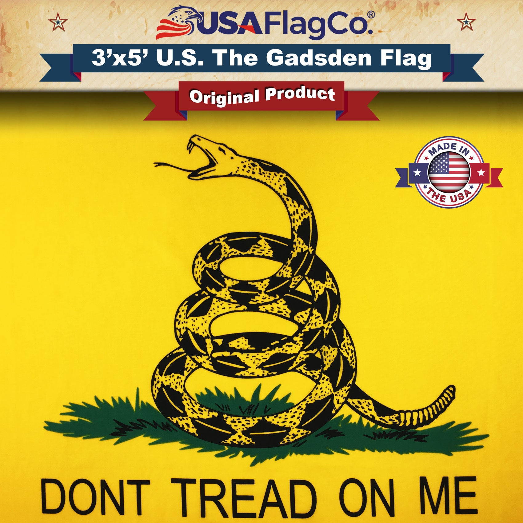 Embroidered 3x5 Ft Dont Tread On Me Flags Gadsden Flag Polyester Brass Grommets