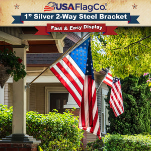 USA Flag Co. TITAN™ Silver Stainless Steel Flag Pole Bracket