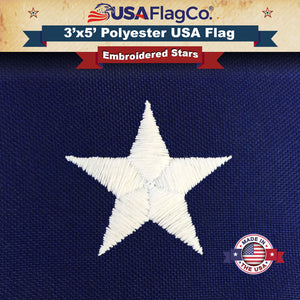 Heavy Duty 2-Ply Polyester American Flag by USA Flag Co. Embroidered Stars