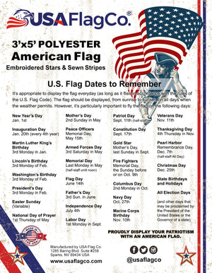 Heavy Duty 2-Ply Polyester US Flag by USA Flag Co. Embroidered Stars and Sewn Stripes