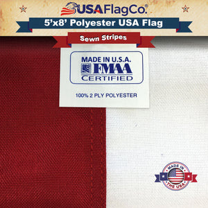 Polyester US Flag (5x8 foot) Embroidered Stars & Sewn Stripes