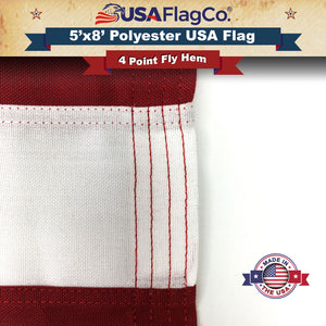 5x8 Polyester USA Flags - Fly Hem
