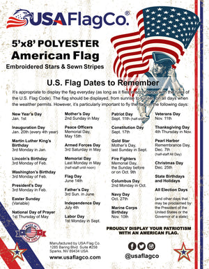 Heavy Duty 2-Ply Polyester USA Flags by USA Flag Co. Embroidered Stars and Sewn Stripes