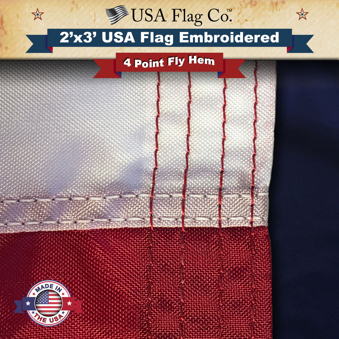 US Flag (2x3 foot) Embroidered Stars & Sewn Stripes