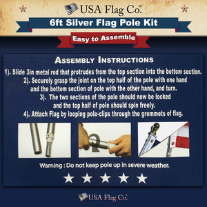 Silver Flag Pole Kit Easy Install by USA flag Co.