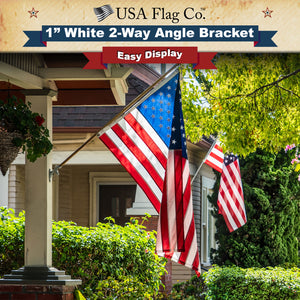2-Way Angle White Flagpole Mount by USA Flag Co.
