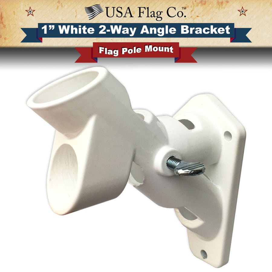 White 2-Way Angle Flag Pole Mount by USA Flag Co.